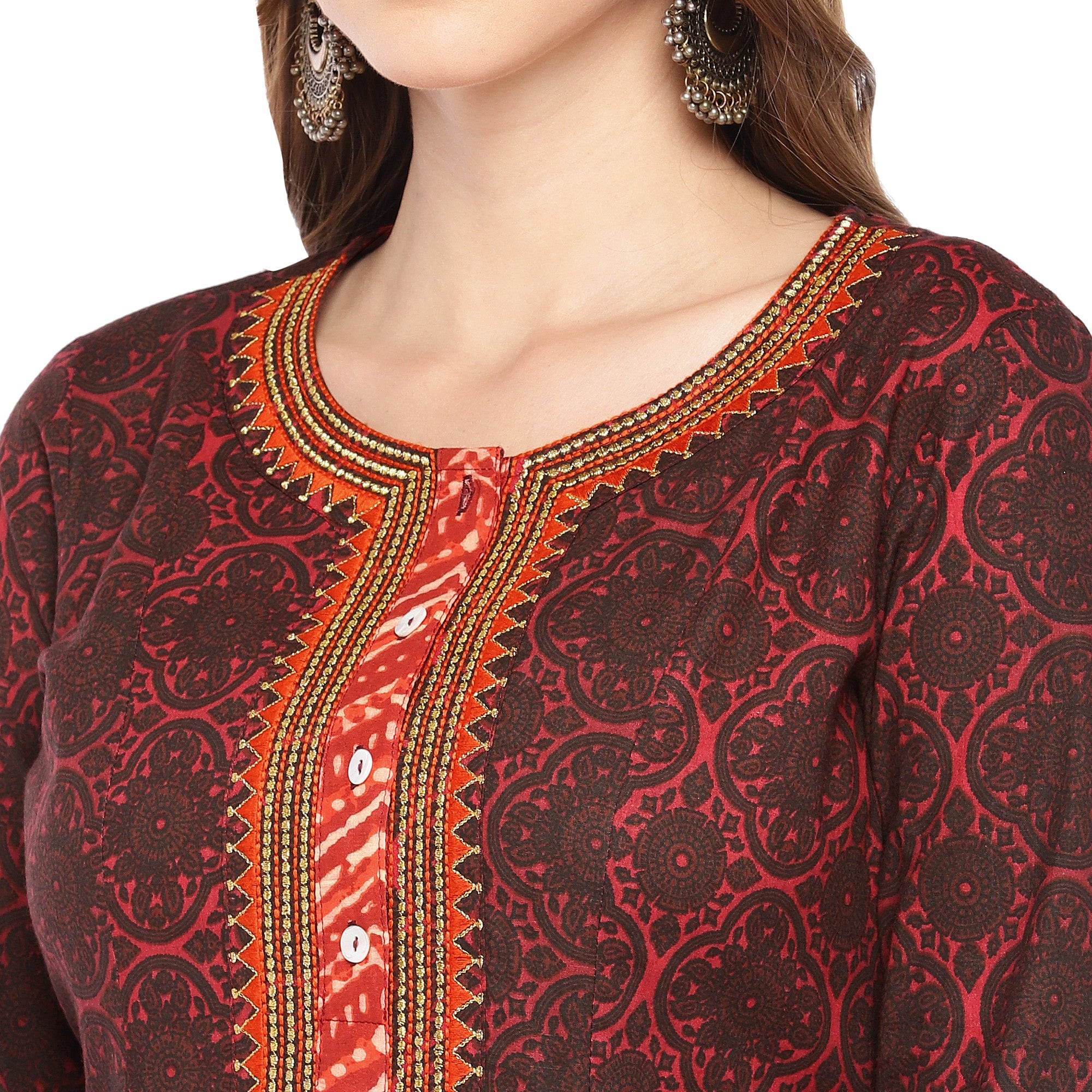 Women Red Printed A-Line Kurta-5