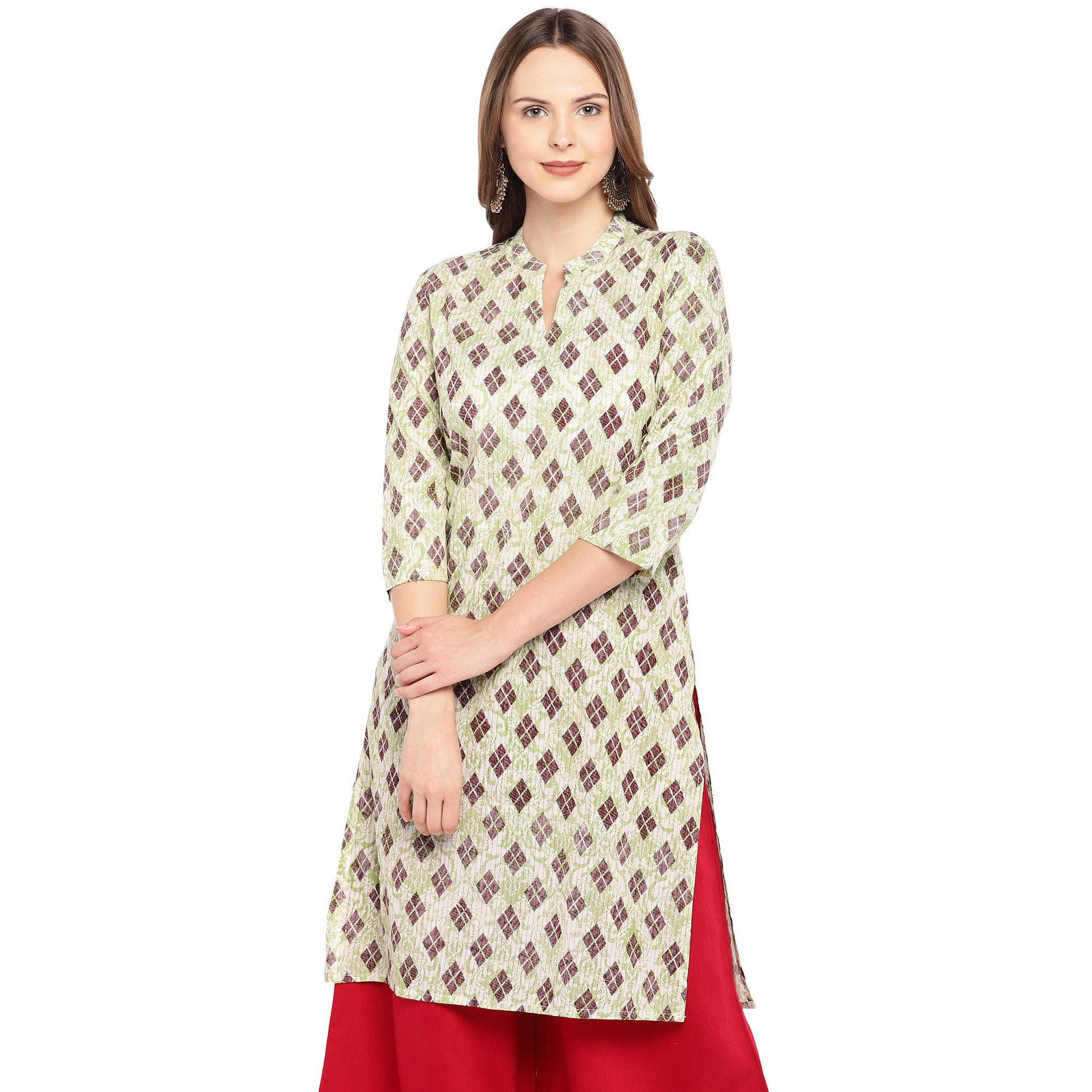 Women Beige & Brown Printed Straight Kurta-1