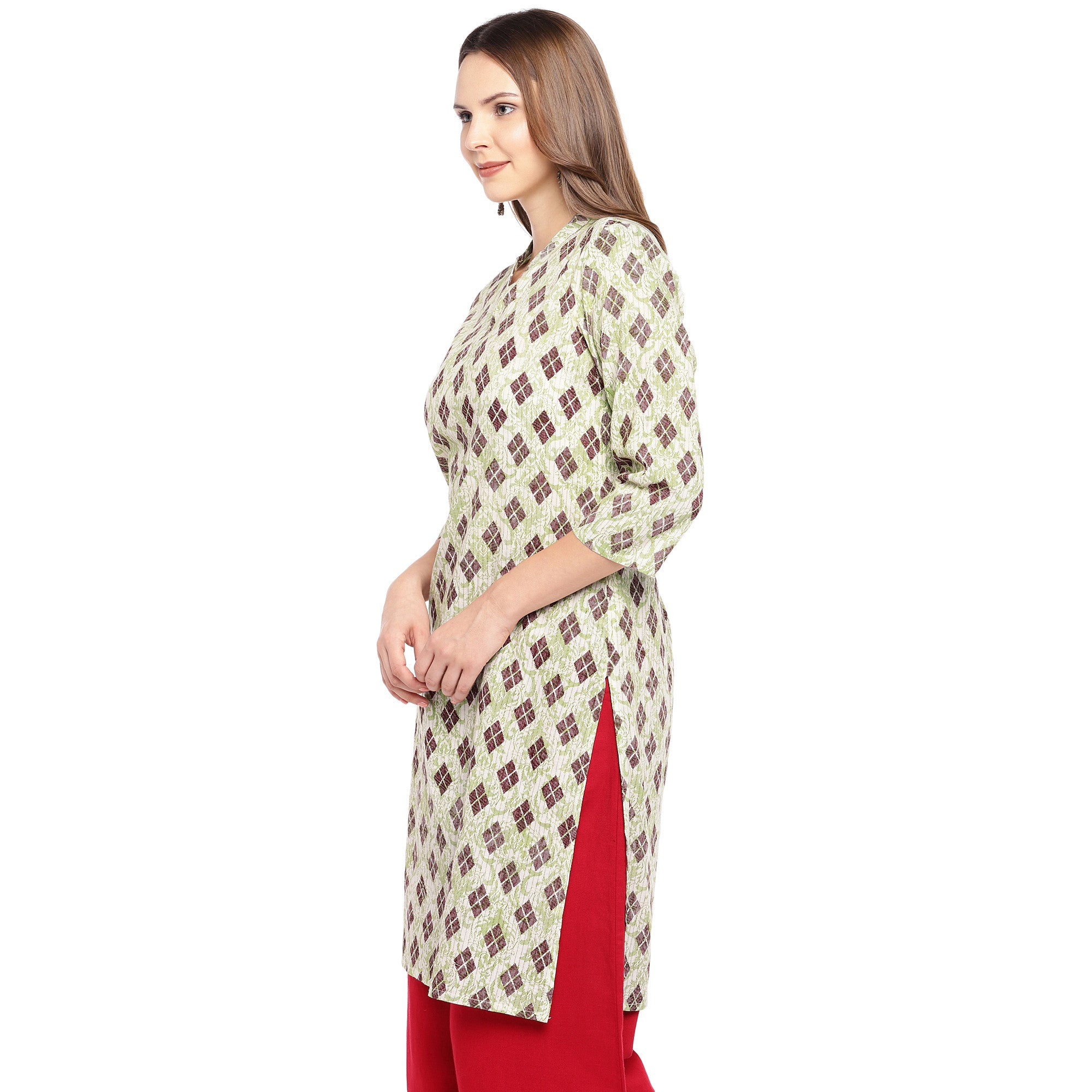 Women Beige & Brown Printed Straight Kurta-2
