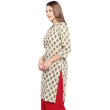 Load image into Gallery viewer, Women Beige & Brown Printed Straight Kurta-2