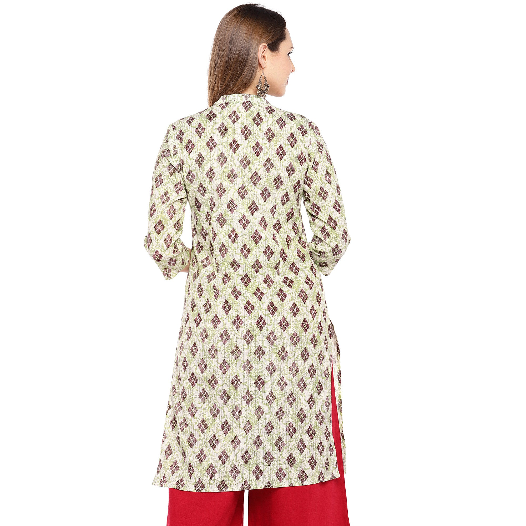 Women Beige & Brown Printed Straight Kurta-3