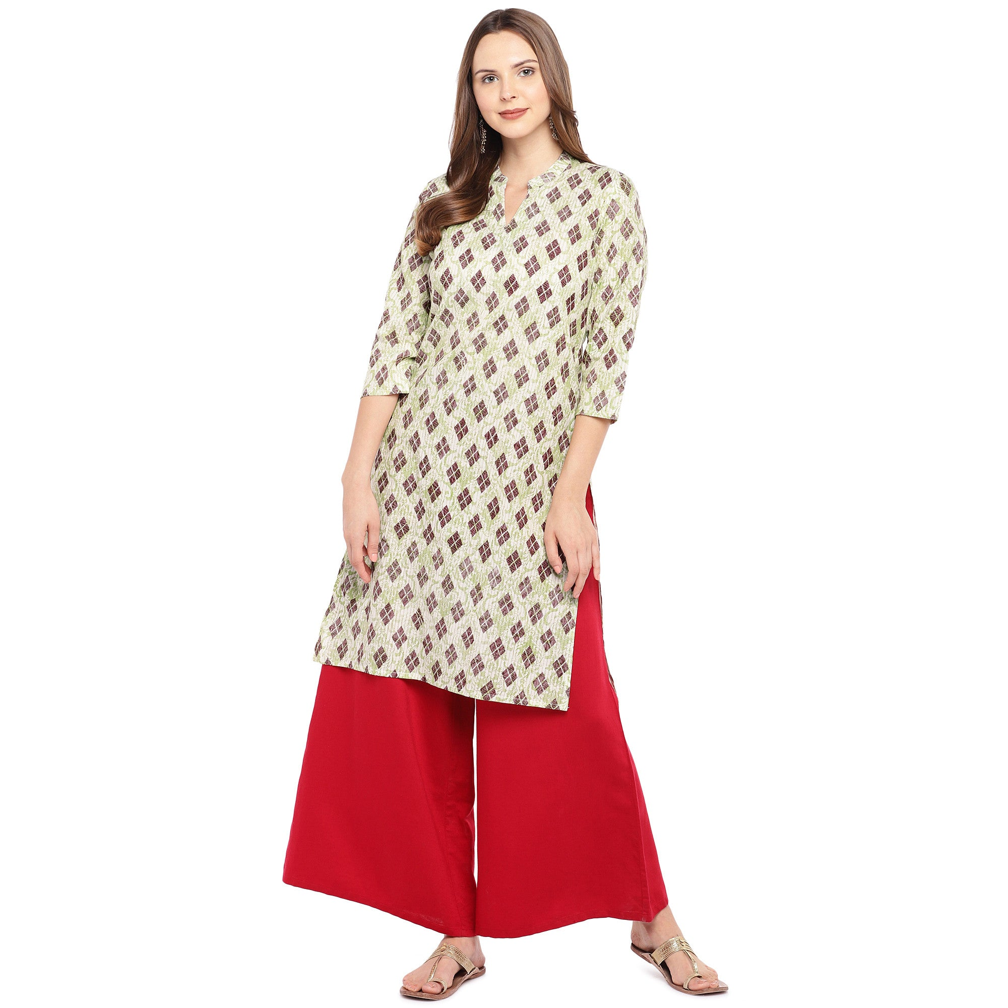 Women Beige & Brown Printed Straight Kurta-4