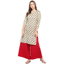 Load image into Gallery viewer, Women Beige & Brown Printed Straight Kurta-4