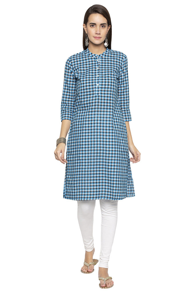 Checked Ethnic Kurta-1