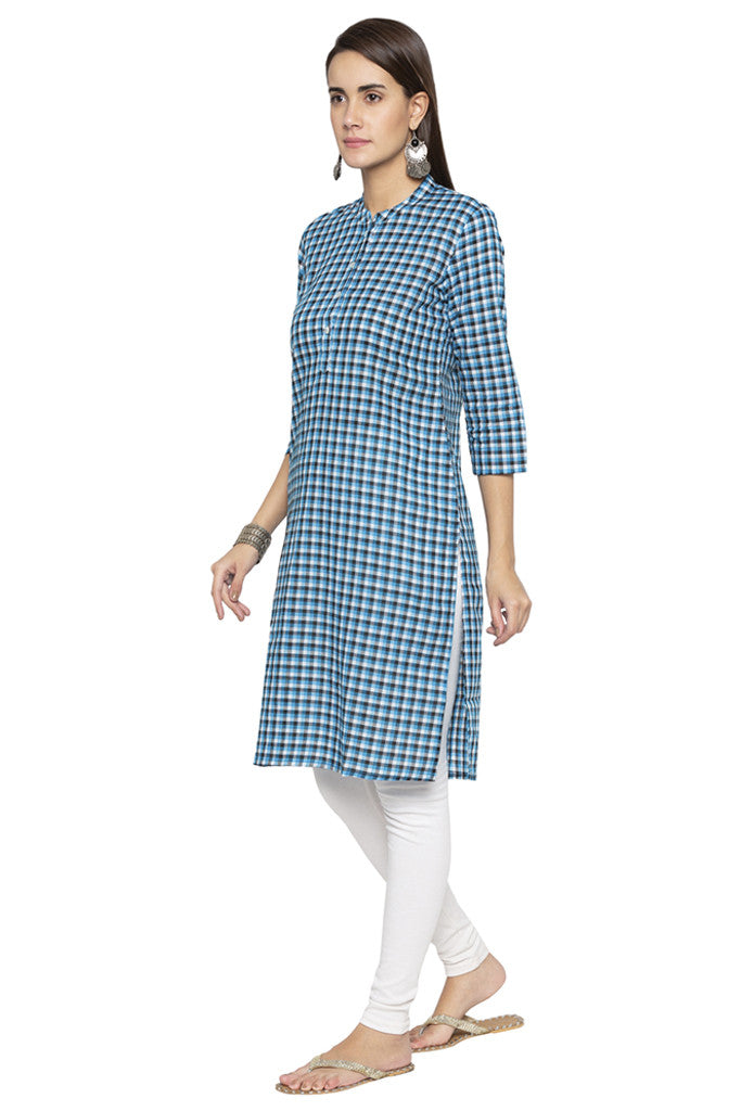 Checked Ethnic Kurta-4