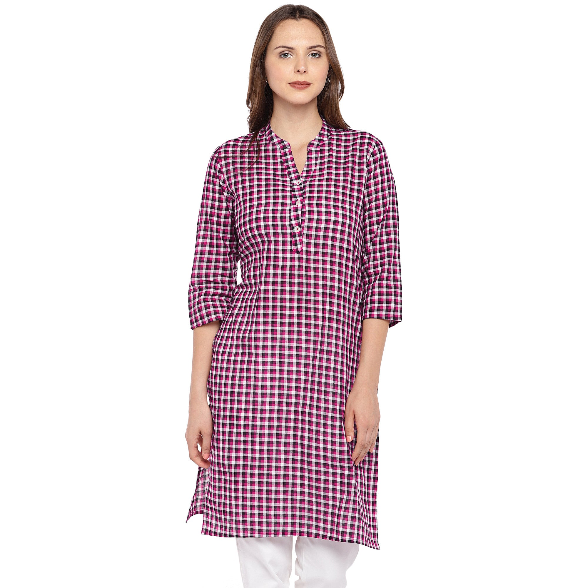 Women Pink Checked Straight Kurta-1