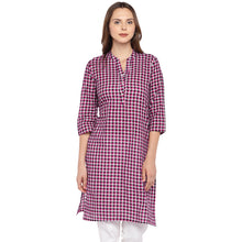 Load image into Gallery viewer, Women Pink Checked Straight Kurta-1