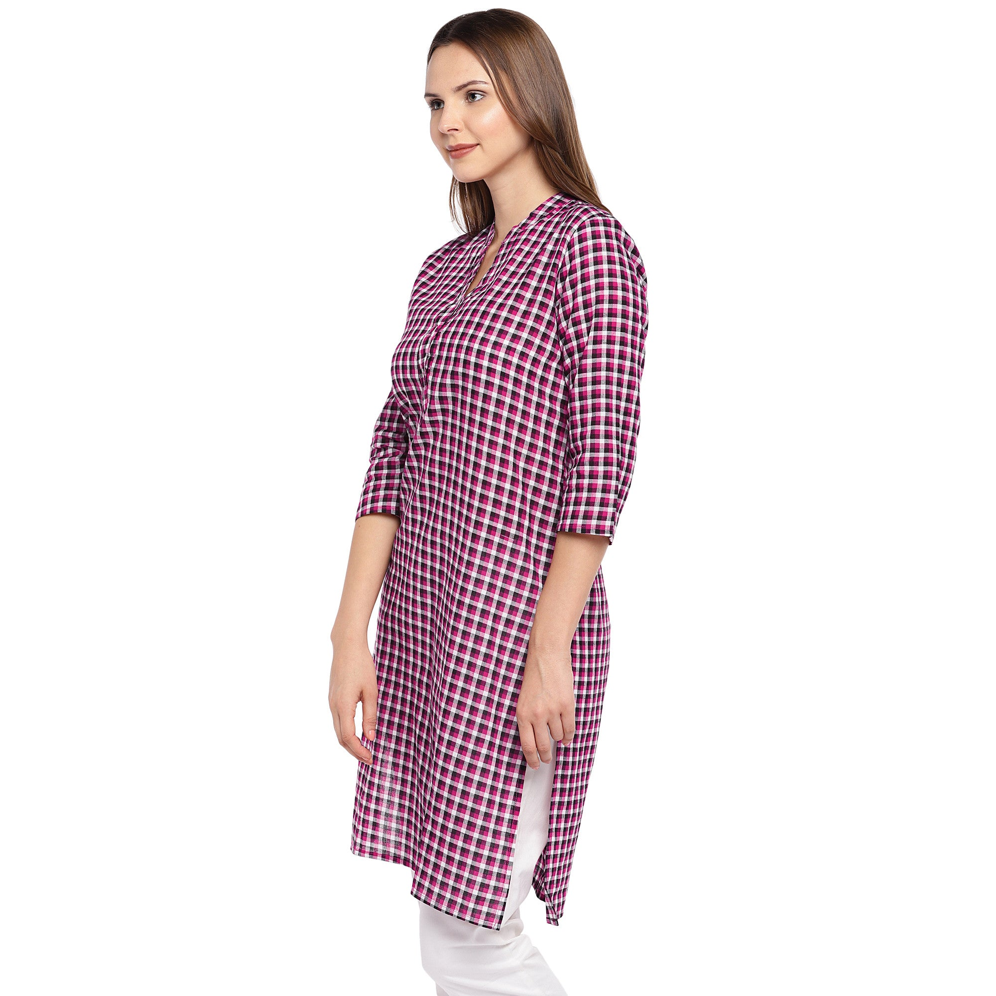 Women Pink Checked Straight Kurta-2