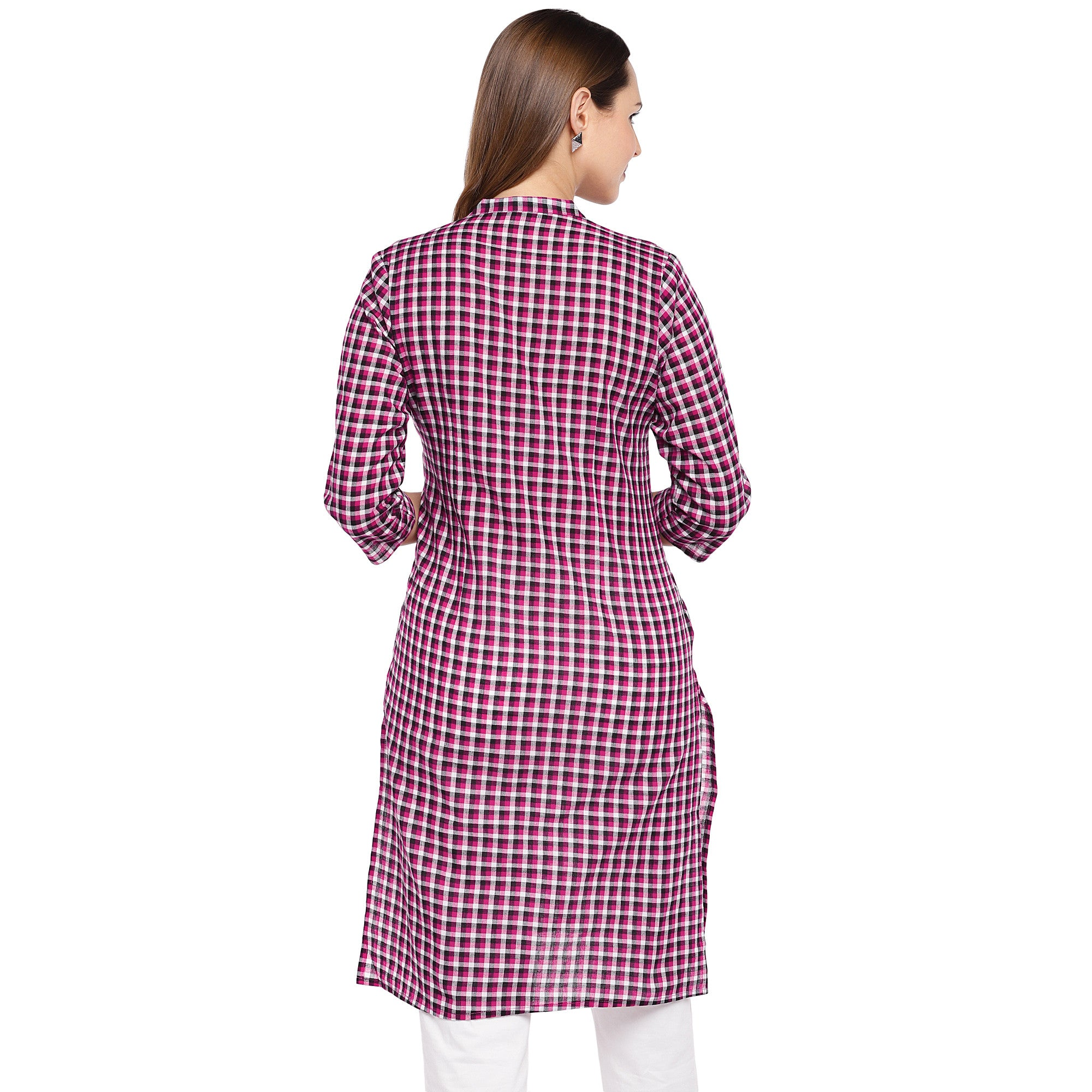 Women Pink Checked Straight Kurta-3