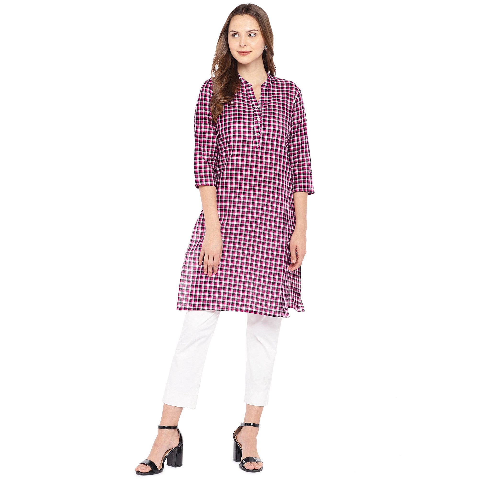 Women Pink Checked Straight Kurta-4