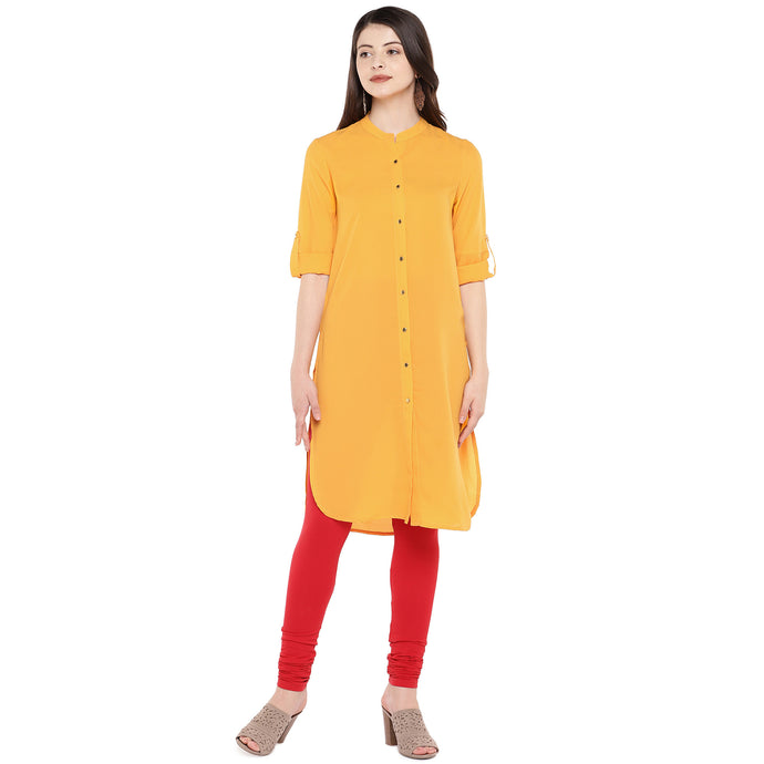 Women Mustard Solid Straight Kurta-1
