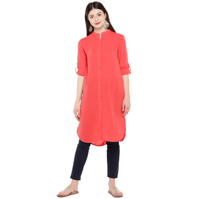 Women Coral Solid Straight Kurta-1