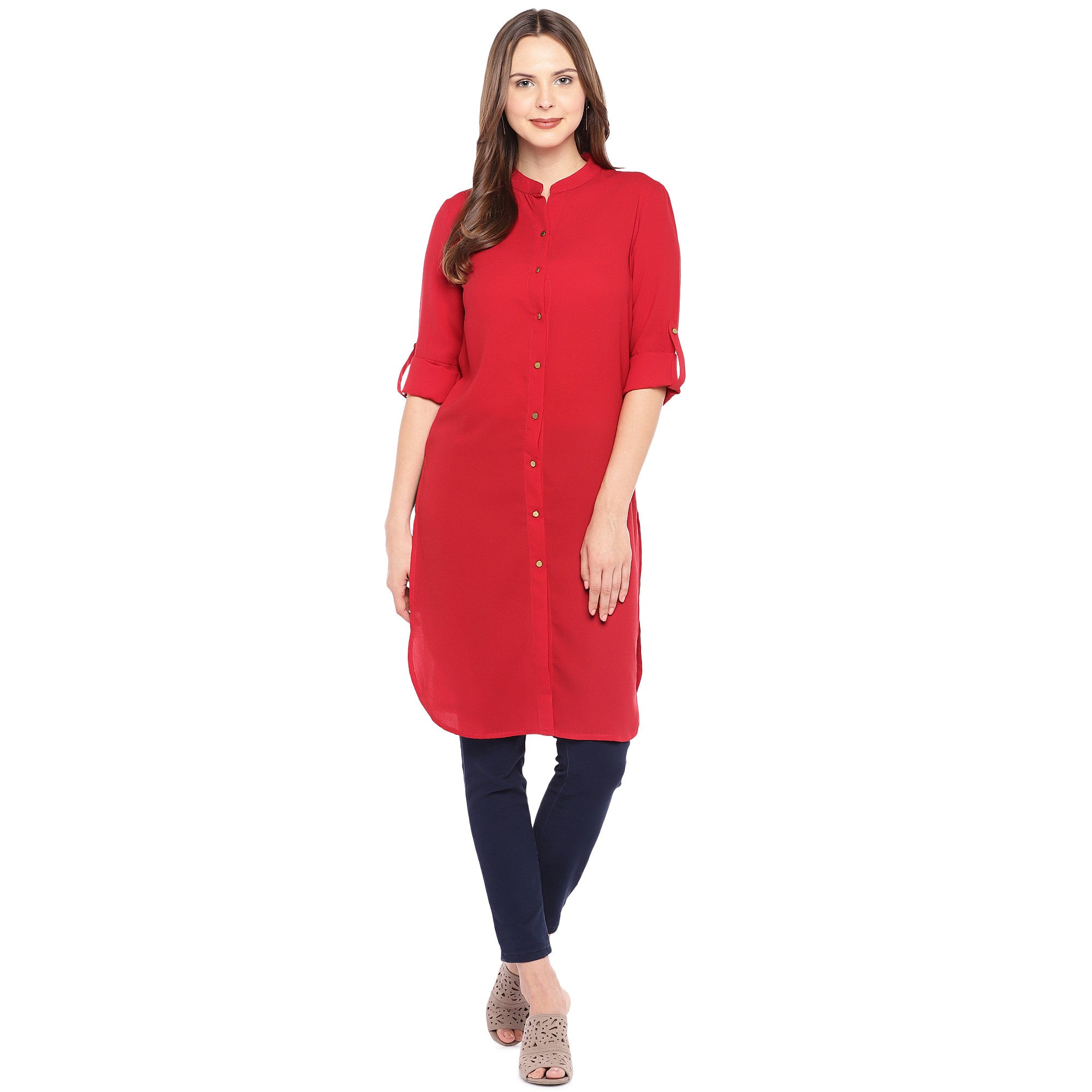 Women Red Solid Straight Kurta-4