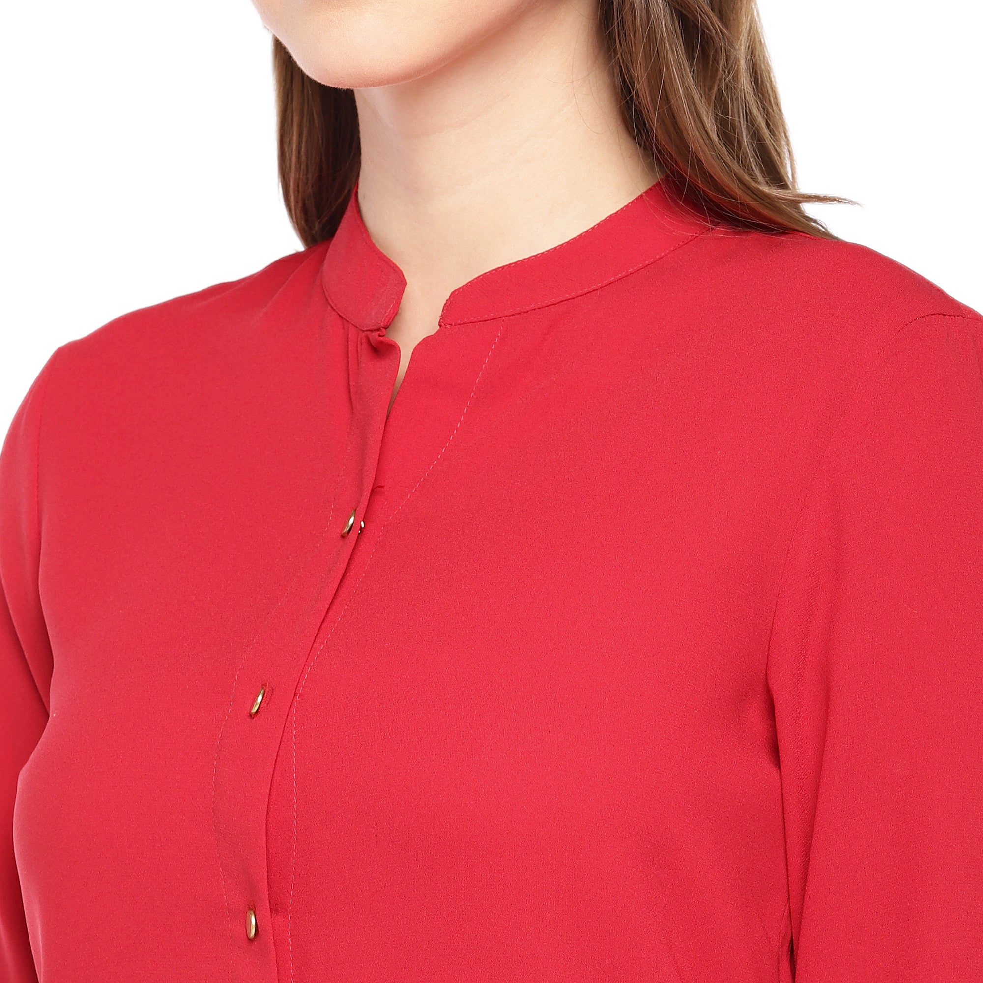 Women Red Solid Straight Kurta-5