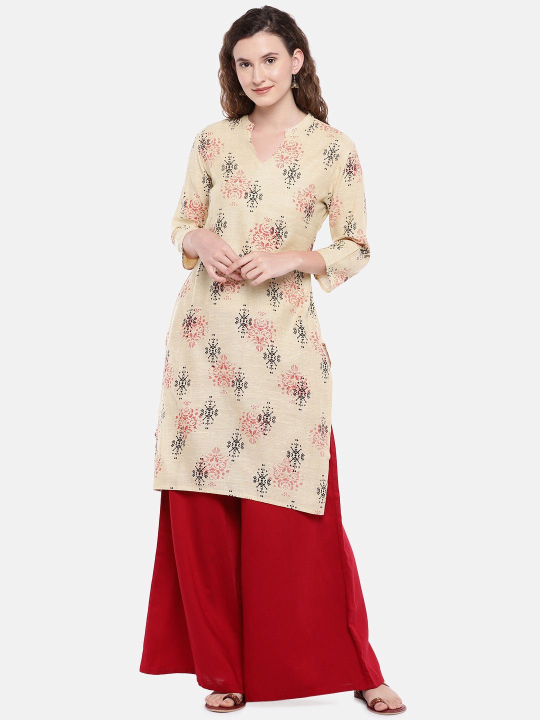 Women Beige Woven Design Straight Kurta-1