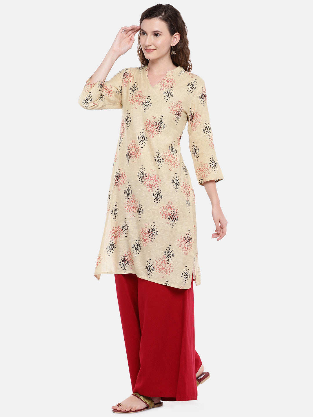 Women Beige Woven Design Straight Kurta-2