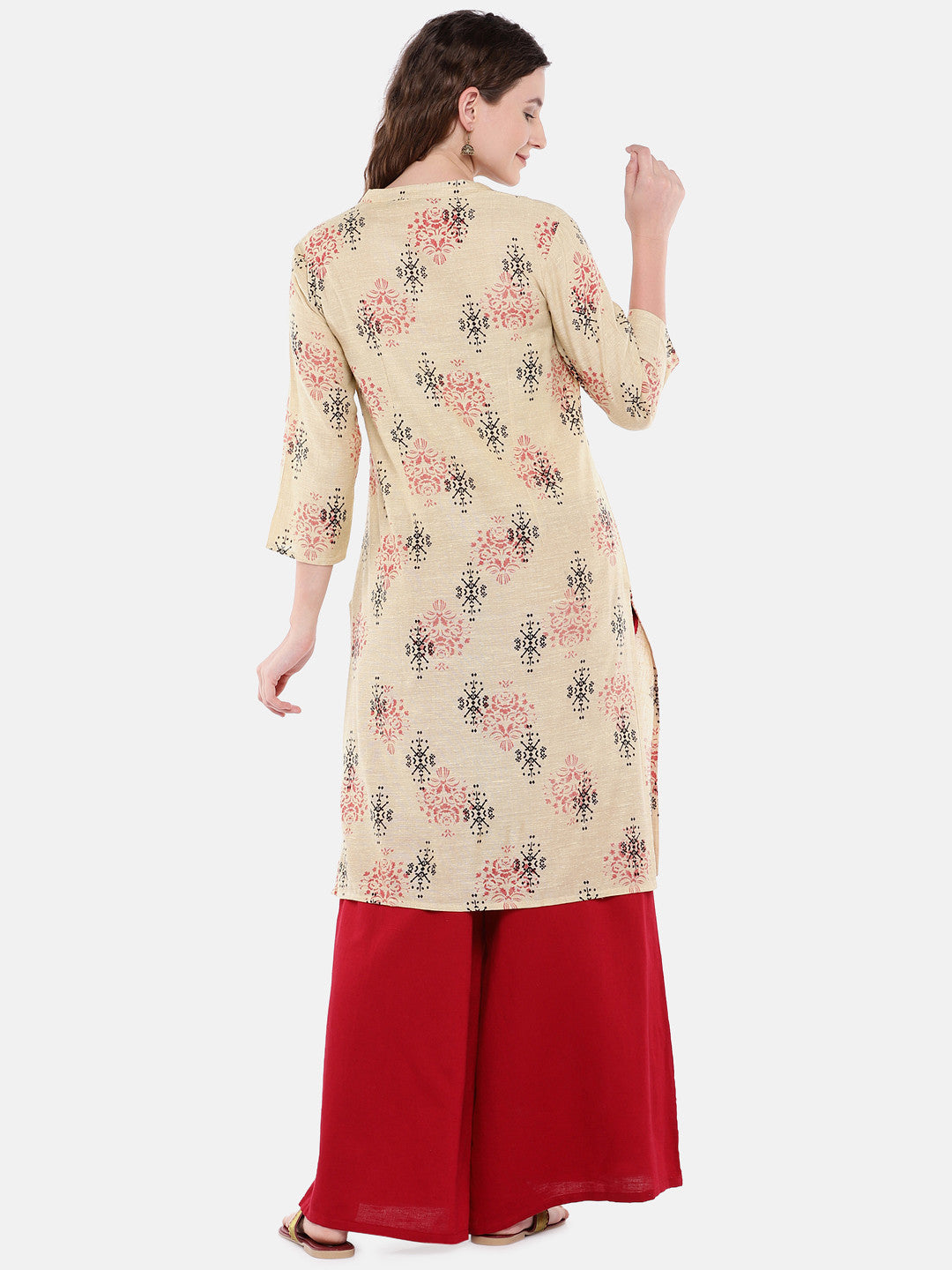 Women Beige Woven Design Straight Kurta-3