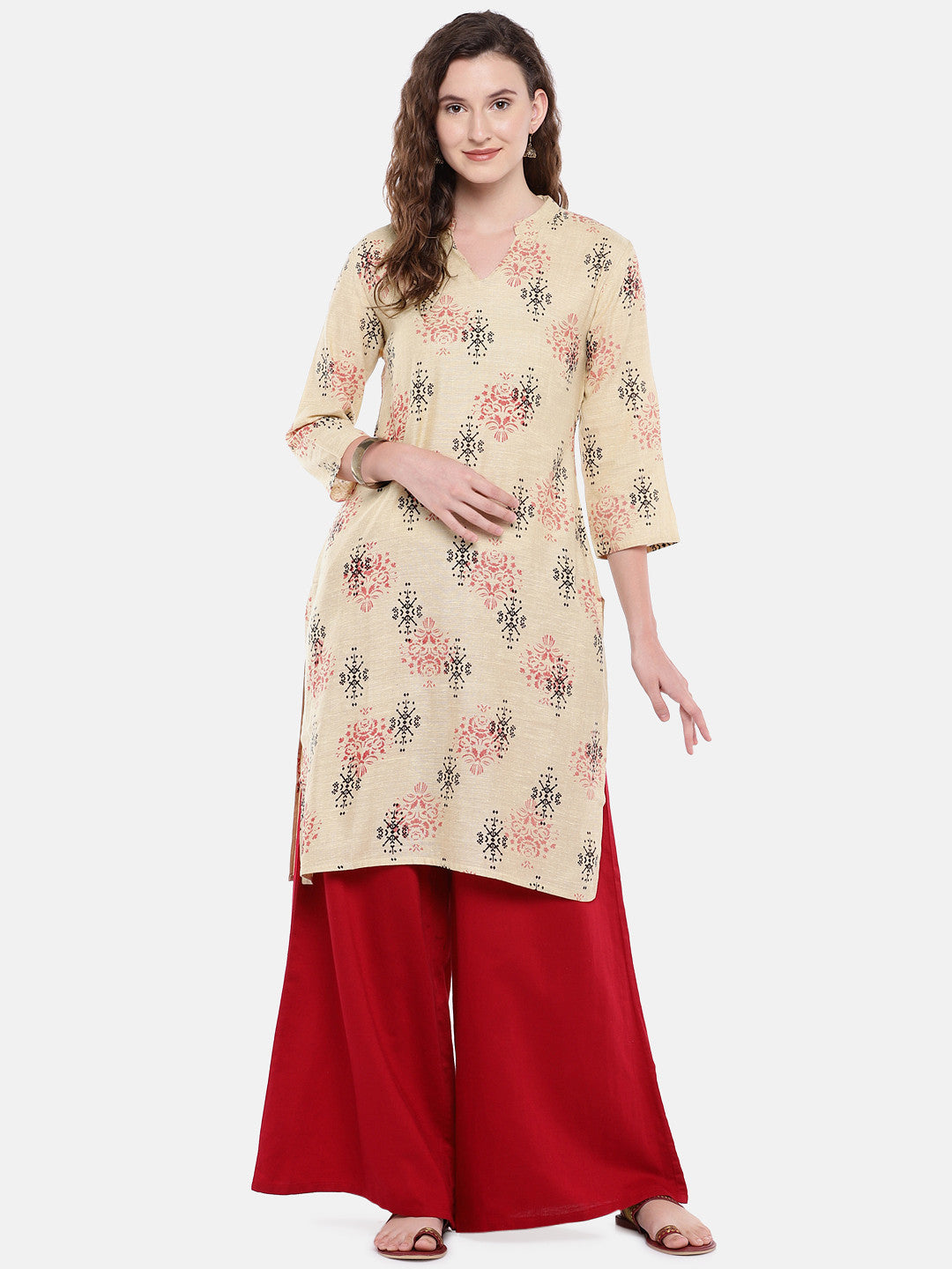 Women Beige Woven Design Straight Kurta-4