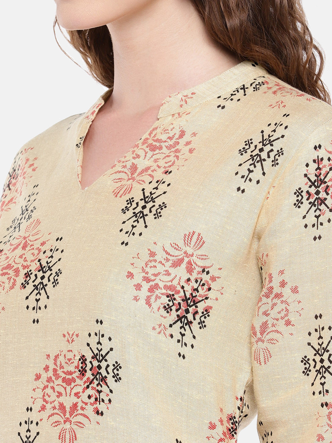 Women Beige Woven Design Straight Kurta-5
