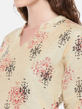Load image into Gallery viewer, Women Beige Woven Design Straight Kurta-5