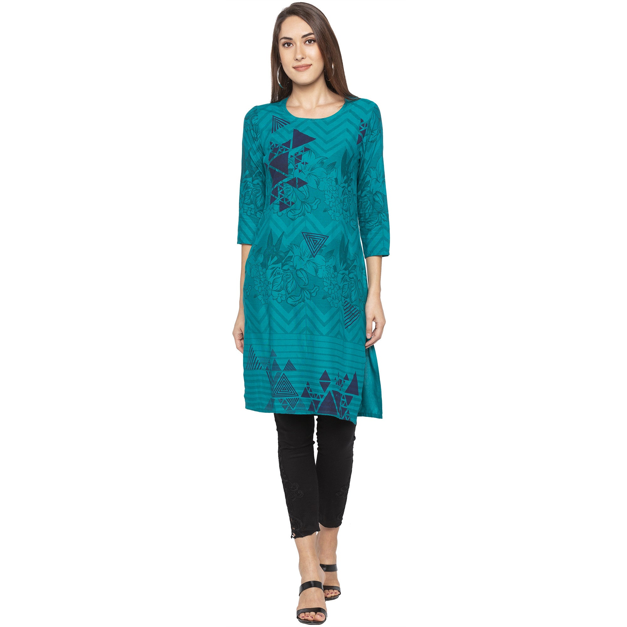 Casual Green Color Straight Printed Regular Kurtas-1