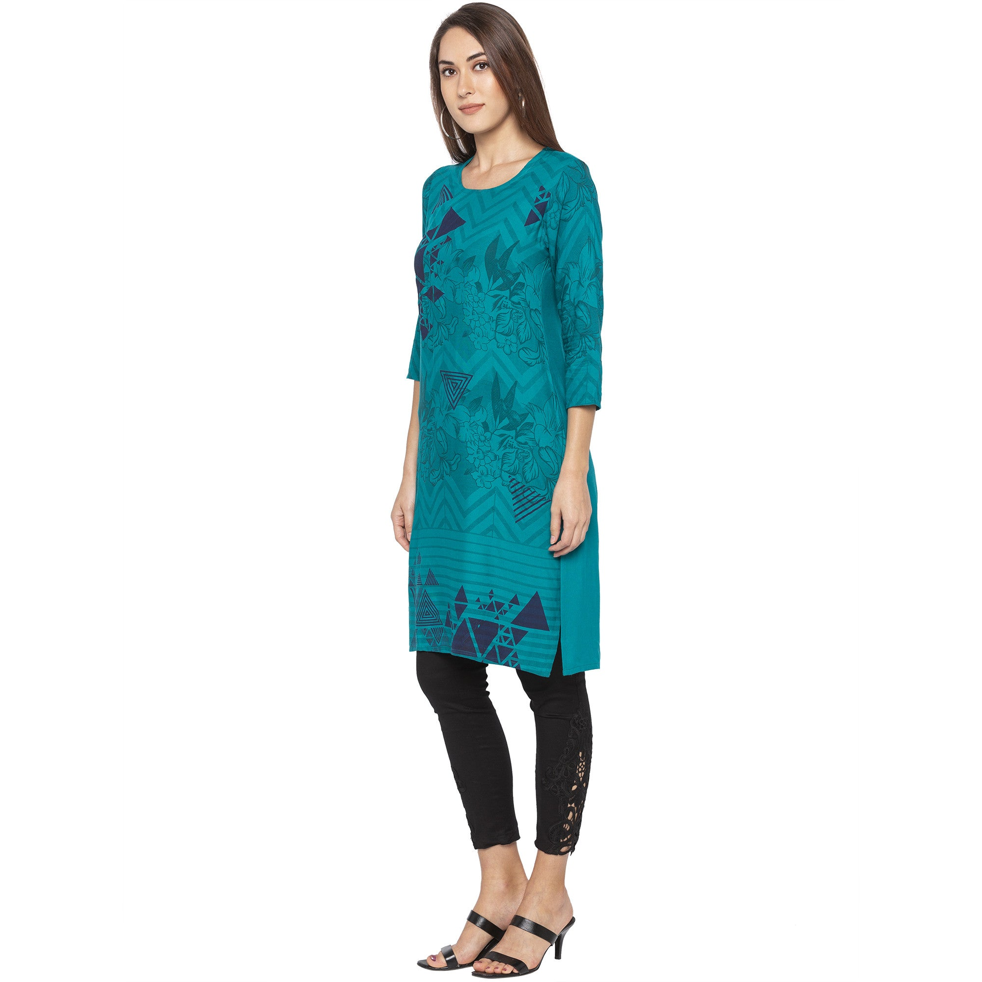 Casual Green Color Straight Printed Regular Kurtas-2