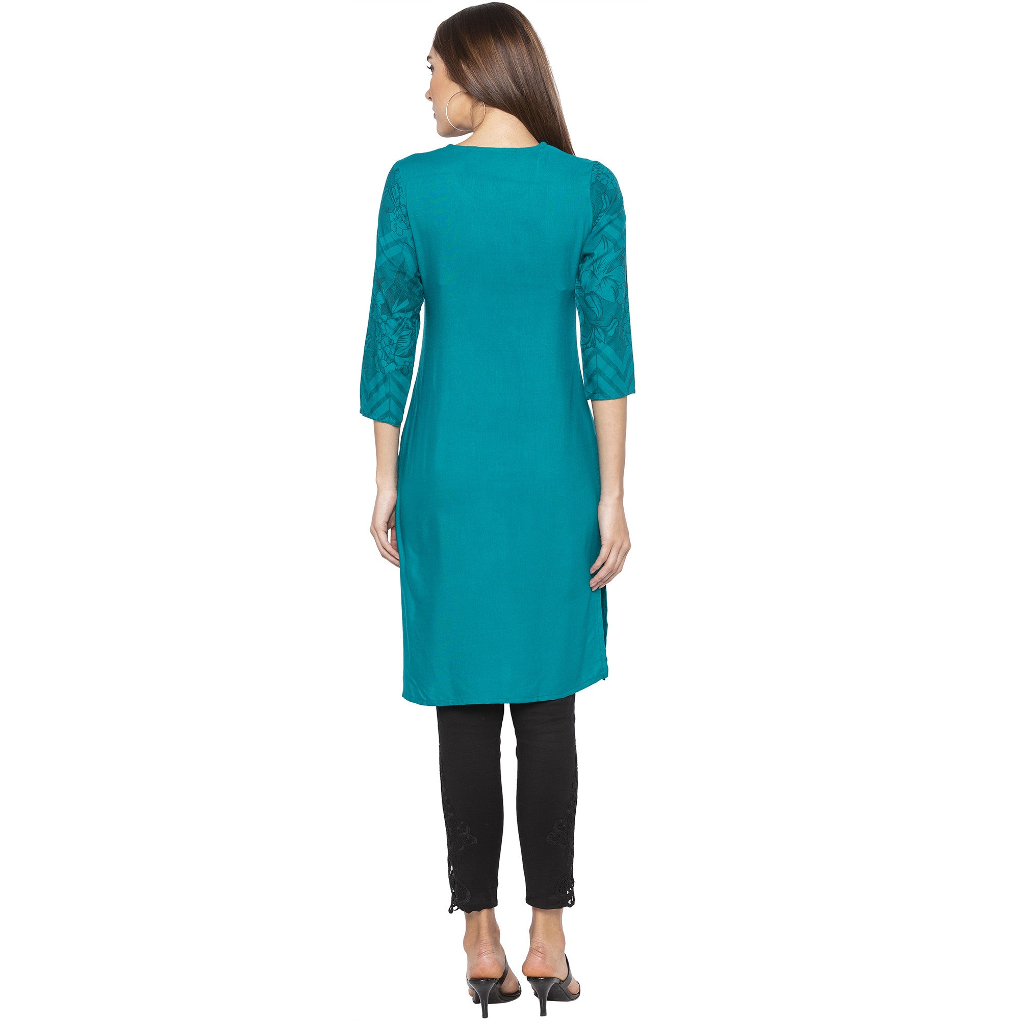 Casual Green Color Straight Printed Regular Kurtas-3