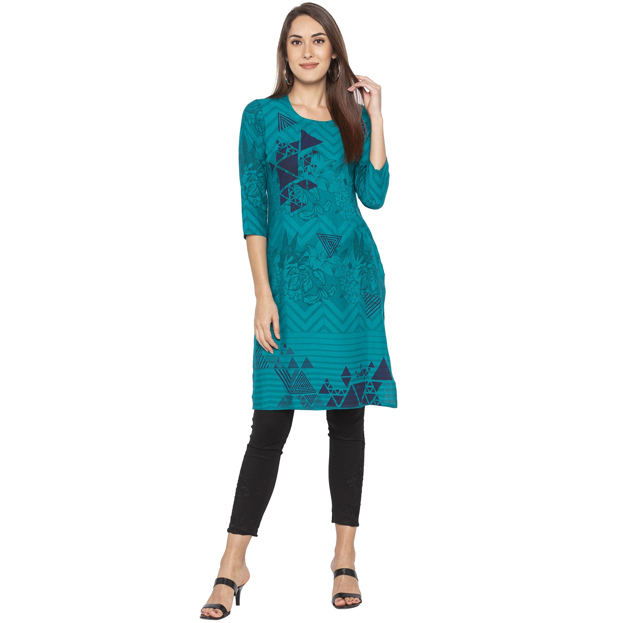Casual Green Color Straight Printed Regular Kurtas-4