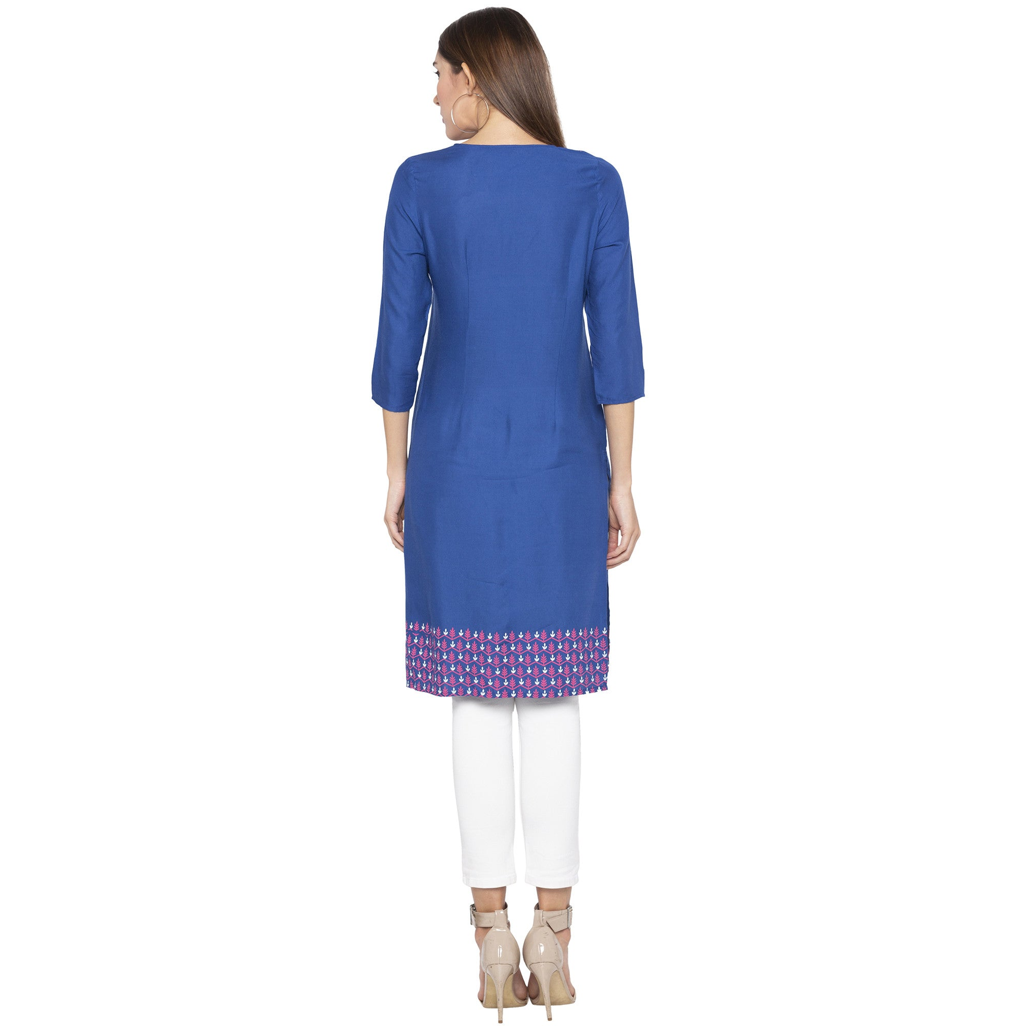 Casual Blue Color Straight Printed Regular Kurtas-2