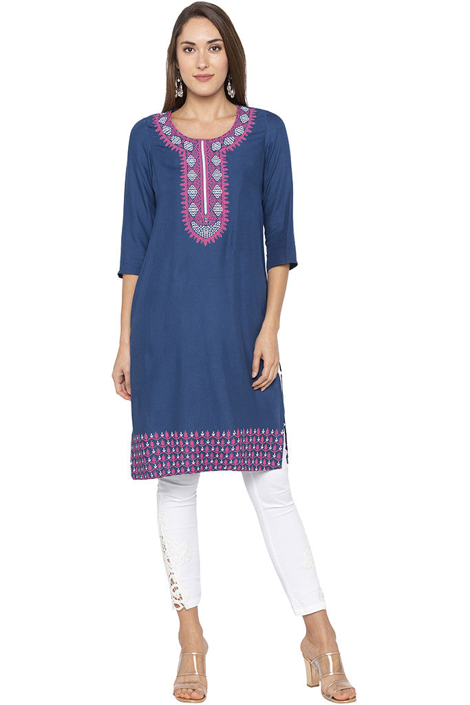 Printed Placket Border Blue Kurta-1