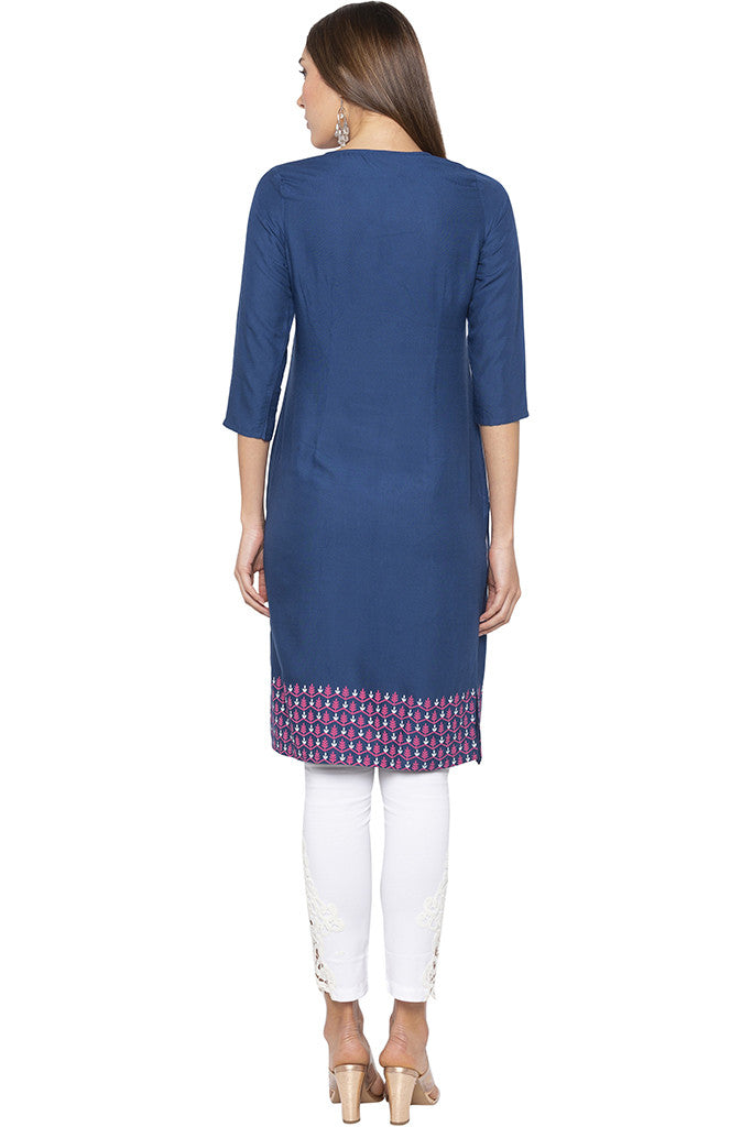 Printed Placket Border Blue Kurta-3