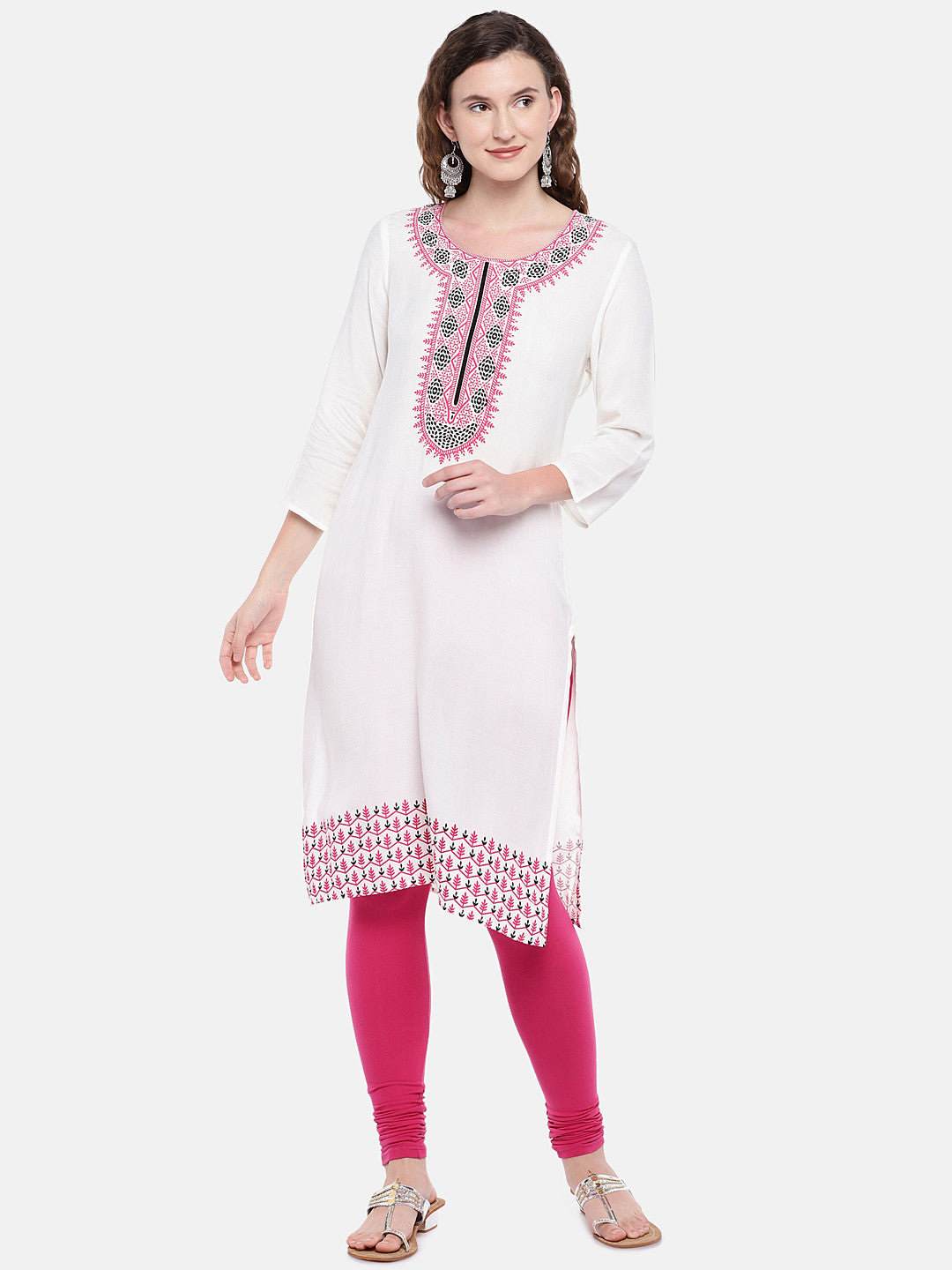 Women White Printed Straight Kurta-1