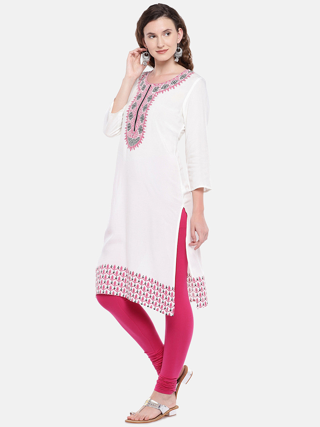 Women White Printed Straight Kurta-2
