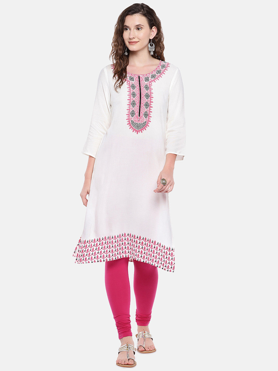 Women White Printed Straight Kurta-4