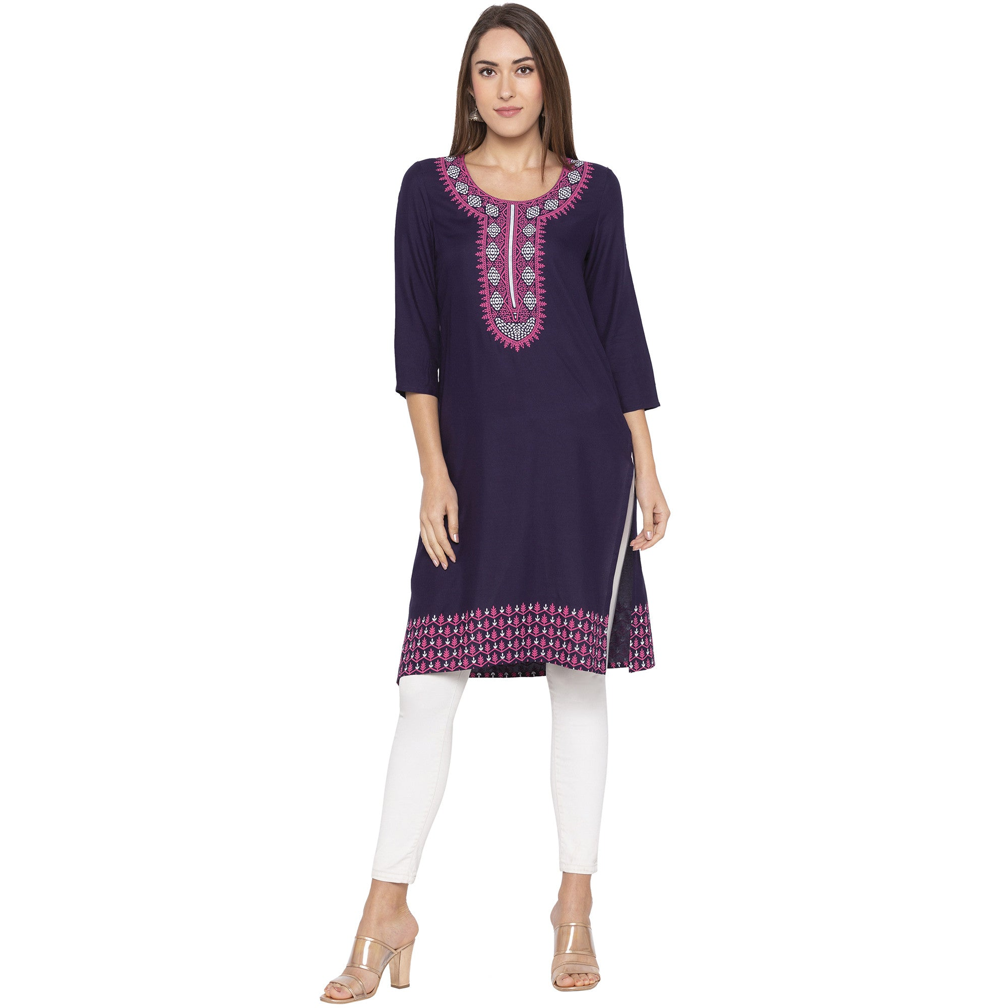 Casual Purple Color Straight Printed Regular Kurtas-1