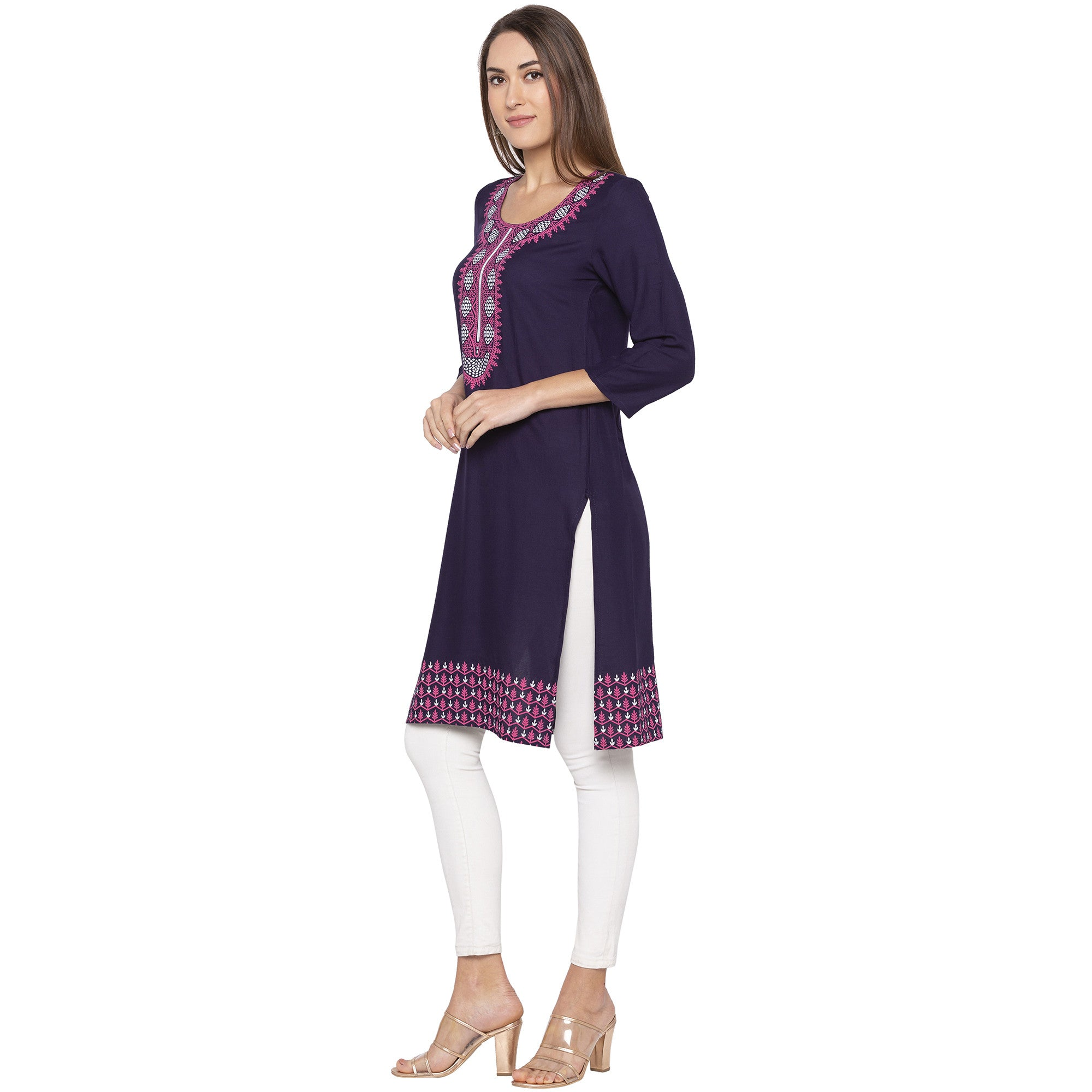 Casual Purple Color Straight Printed Regular Kurtas-2