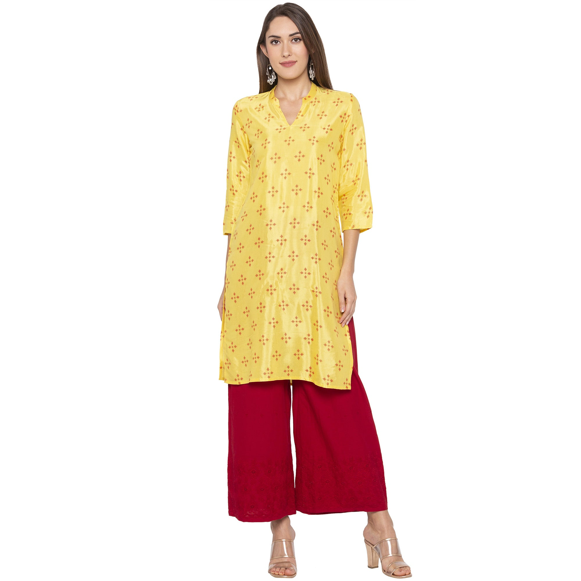 Casual Yellow Color Straight Printed Regular Kurtas-1