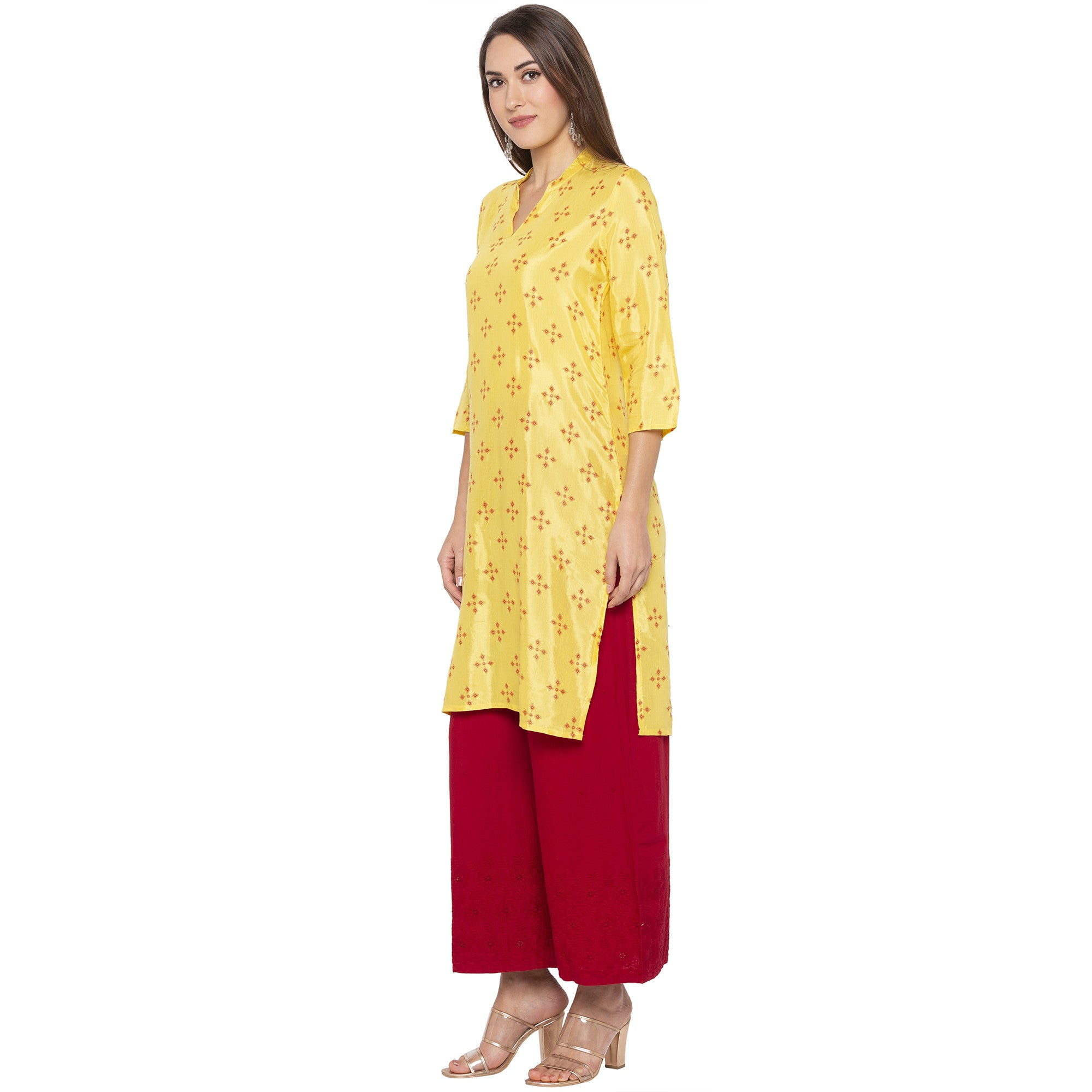 Casual Yellow Color Straight Printed Regular Kurtas-2