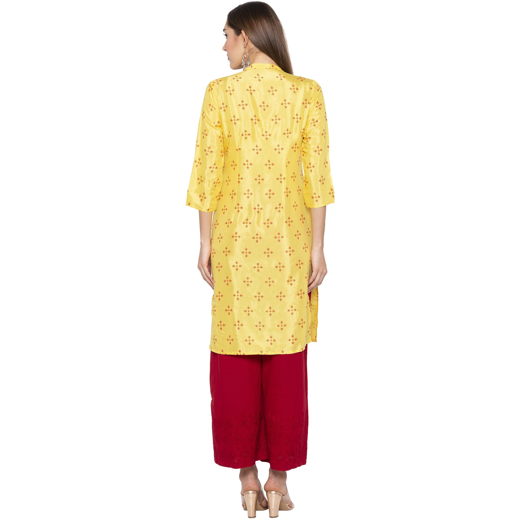 Casual Yellow Color Straight Printed Regular Kurtas-3