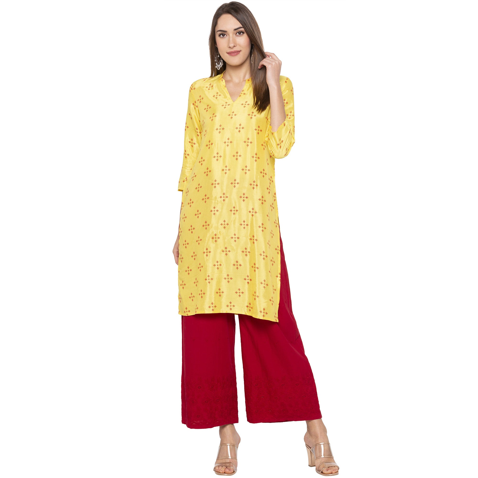 Casual Yellow Color Straight Printed Regular Kurtas-4