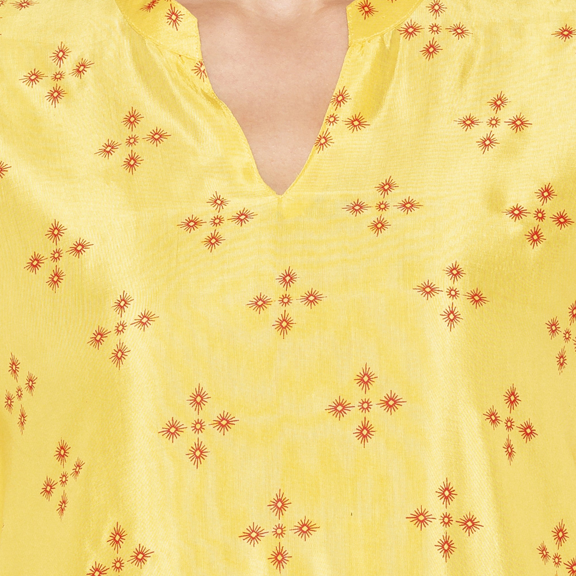 Casual Yellow Color Straight Printed Regular Kurtas-5
