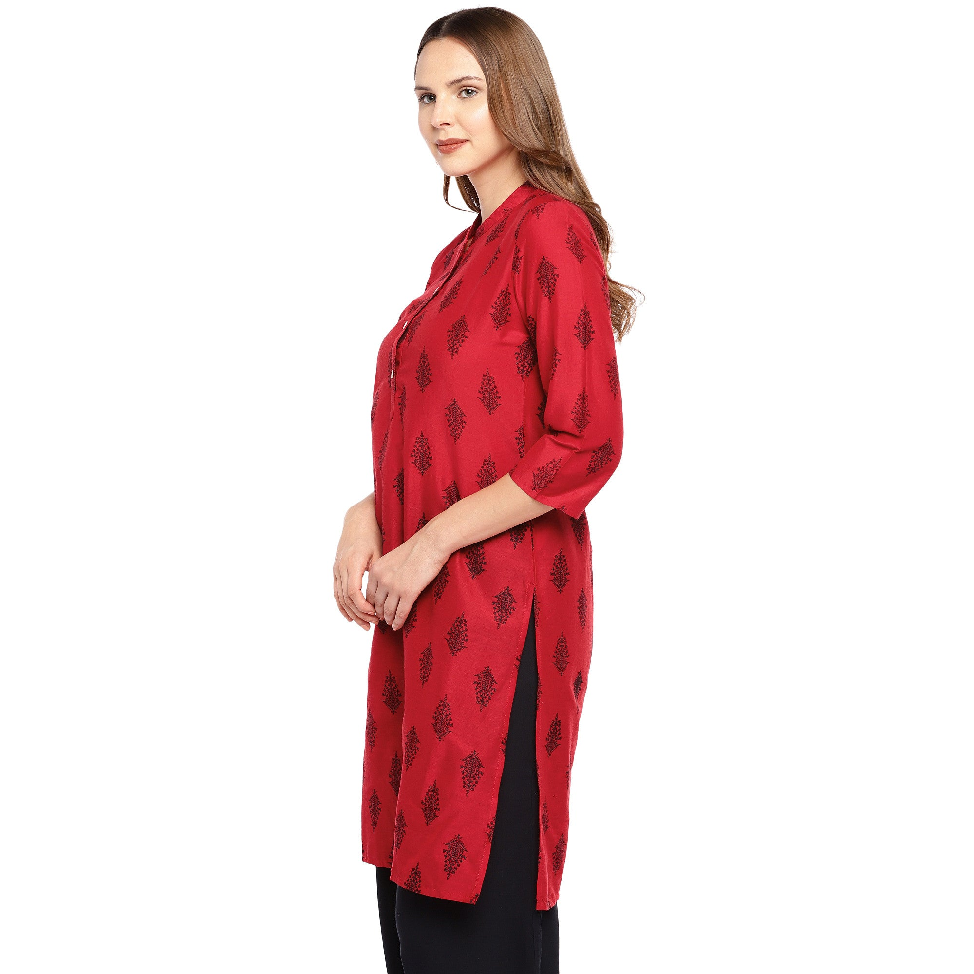 Women Red Printed Straight Kurta-2