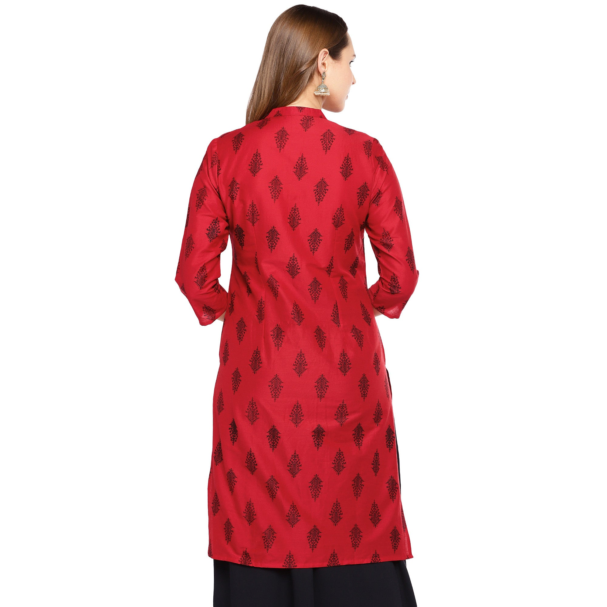 Women Red Printed Straight Kurta-3