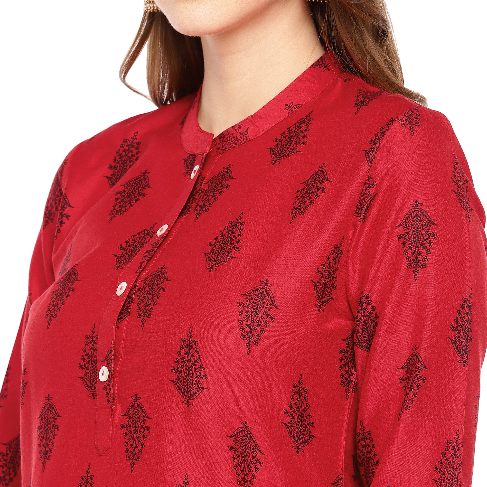 Women Red Printed Straight Kurta-5