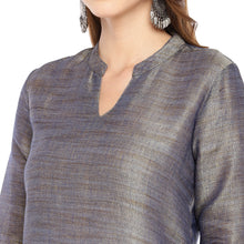 Load image into Gallery viewer, Women Grey Solid Straight Kurta-5