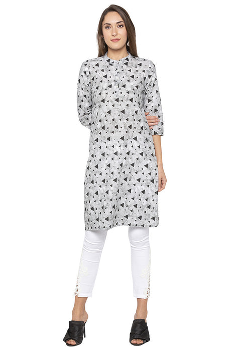 Geometric Abstract Print Grey Kurta-1