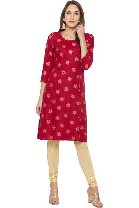 Printed Mock Side Placket Red Kurta-1