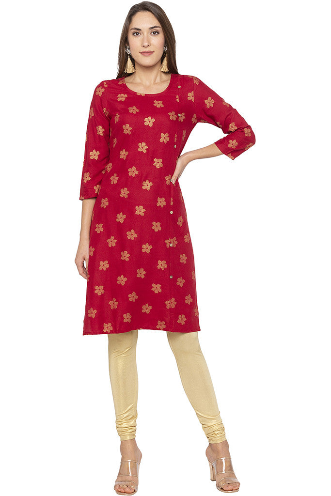 Printed Mock Side Placket Red Kurta-2