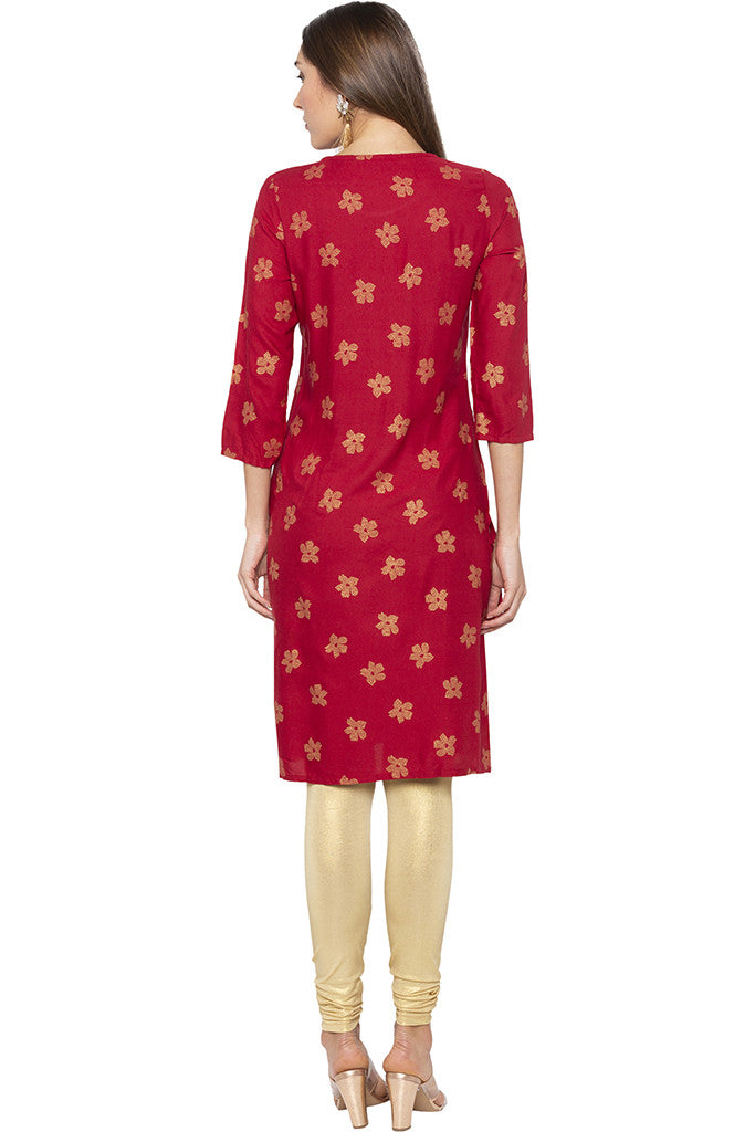 Printed Mock Side Placket Red Kurta-3
