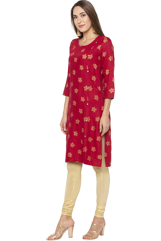 Printed Mock Side Placket Red Kurta-4